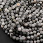 "Natural Eagle Eye Beads 6mm Round Creamy Gray Slate Colors 16"" Strand"