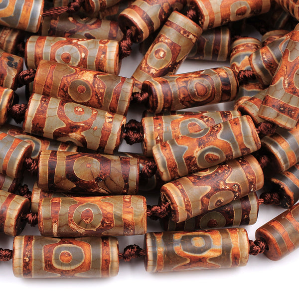 "Large Tibetan Agate Cylinder Tube 30mm Beads Dzi Agate Brown Etched Eye Antique Boho Beads 16"" Strand"