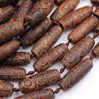 "Large Tibetan Agate Barrel Drum Cylinder Tube 40mm Beads Dzi Agate Brown Etched Eye Antique Boho Beads 16"" Strand"