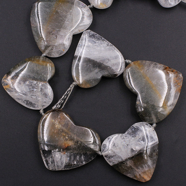 "Rare Natural Cacoxenite in Quartz Beads Magnificent Large Heart Shaped Focal Pendant Top Side Drilled Gemstone 10"" Strand"