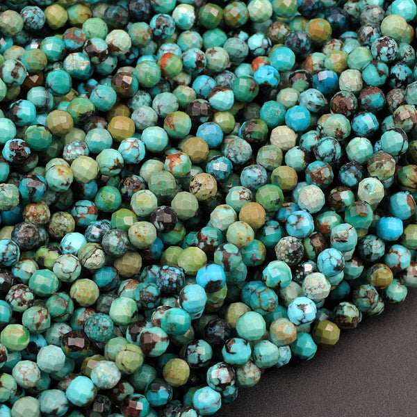 "Natural Dragon Skin Turquoise Faceted 3mm 4mm Round Beads Real Genuine Natural Blue Green Turquoise Micro Faceted Diamond Cut 16"" Strand"