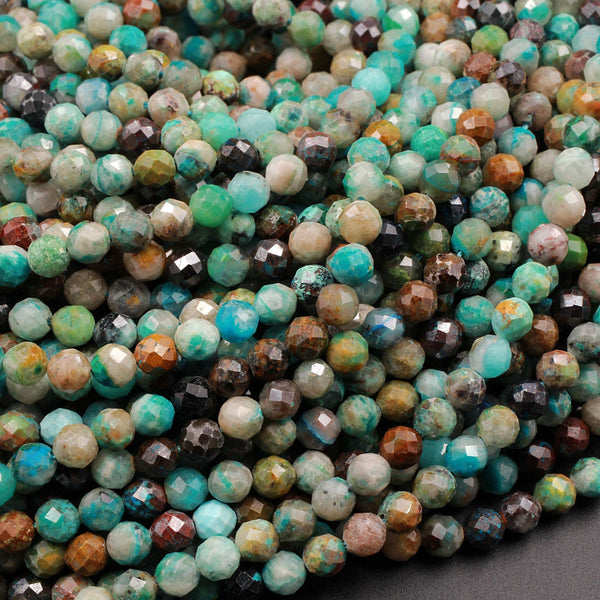 "Natural Green Blue Brown Chrysocolla 4mm Faceted Round Beads Micro Laser Diamond Cut Gemstone 16"" Strand"