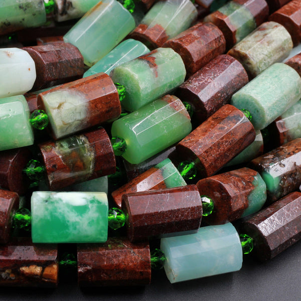 "Natural Australian Green Chrysoprase Faceted Tube Rectangle Beads Cylinder Green Brown Bead 16"" Strand"