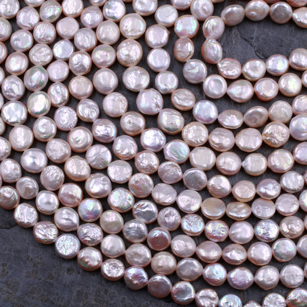 "AAA Soft Baby Pink Coin Pearl 9mm Brilliant Nacre Real Genuine Natural Freshwater Pearl 16"" Strand"