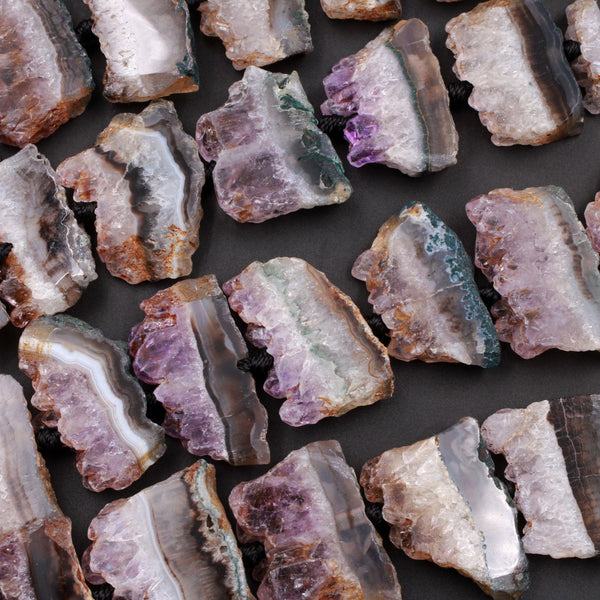 "Natural Amethyst Slice Pendants Focal Beads Raw Rough Purple Amethyst Stalactite Slab Center Drilled Gemstone 16"" Full Strand"
