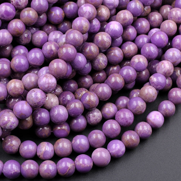 "Natural Phosphosiderite 6mm 7mm 8mm 10mm Round Beads Natural Rich Lavender Purple Phosphosiderite High Polish 16"" Strand"