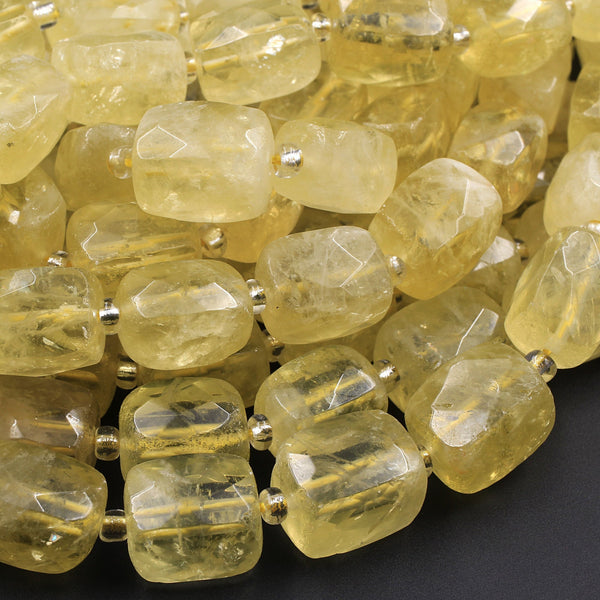 "Natural Lemon Quartz Faceted Rectangle Tube Nugget Large Thick Beads Yellow Gemstone 16"" Strand"