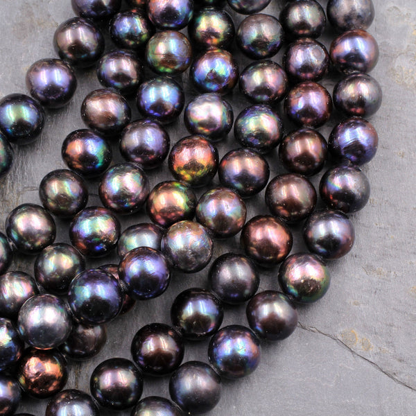 "Large Genuine Freshwater Black Peacock Pearl 12mm Round Shimmery Iridescent Rainbow Glow Real Genuine Freshwater Pearl 16"" Strand"