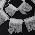 "Large Drilled White Rock Quartz Slice Pendants Focal Beads Raw Natural Stalactite Rectangle Slab Side Drilled Gemstone 16"" Strand"