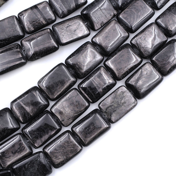"Genuine Natural Hypersthene Rectangle 16x12mm Beads Flashy Chatoyant Gemstone 16"" Strand"