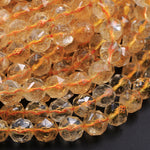 "AAA Natural Citrine Faceted 8mm Beads Rounded Nuggets Geometric Diamond Star Cut Sharp Large Facets Real Genuine Citrine Gemstone 16"" Strand"