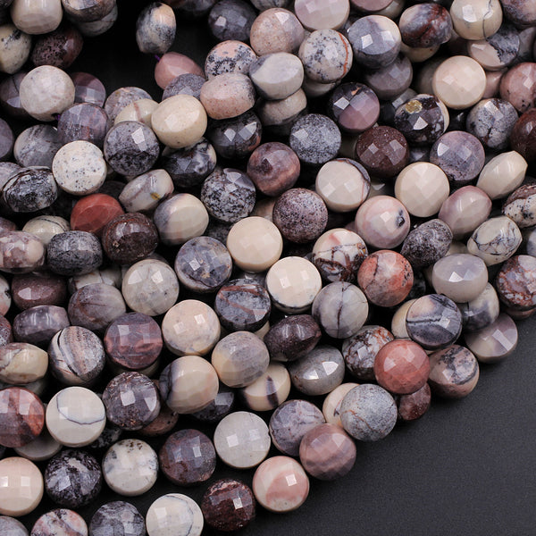 "AAA Natural Porcelain Jasper Faceted Coin 8mm Beads Pink Cream Grey Mauve Purple Gemstone 16"" Strand"