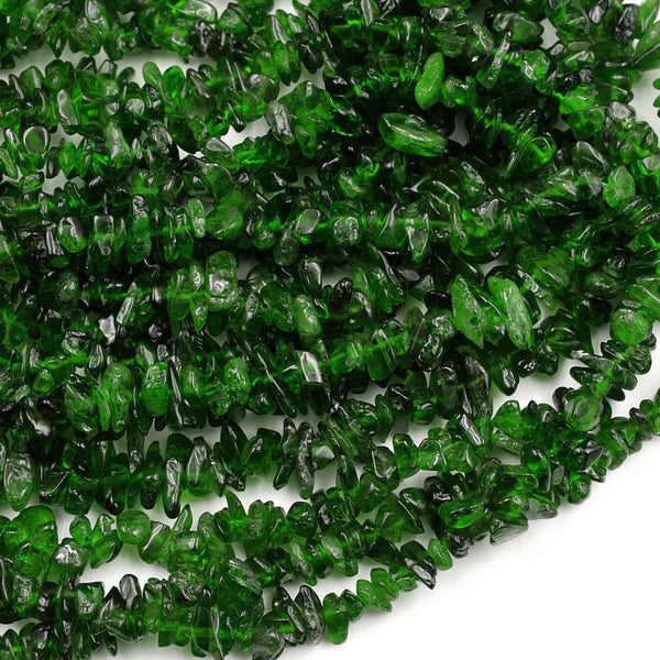 "Natural Green Chrome Diopside Freeform Irregular Small Chip Nugget Center Drilled Real Genuine Chrome Diopside Gemstone Beads 16"" Strand"