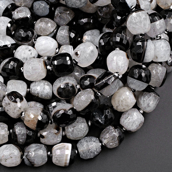 "Faceted Natural Agate Barrel Drum Cylinder Beads 12mm 14mm Polished High Quality Gemmy Black White Quartz Stripe Beads 16"" Strand"