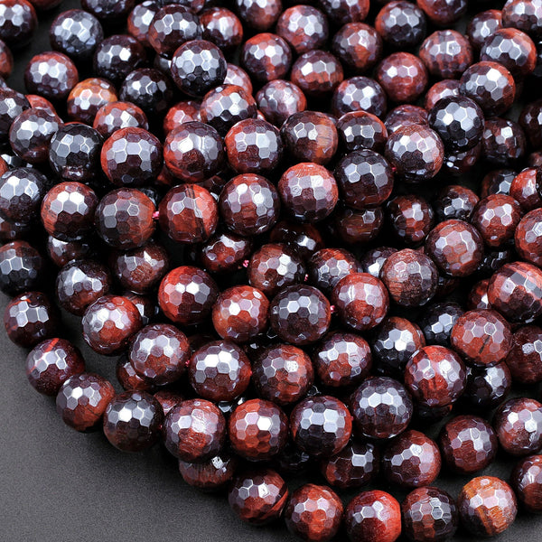 "AAA Natural Mystic Red Tiger Eye Faceted 4mm 6mm 8mm 10mm Round Beads Silverite AB Coated Gemstone 16"" Strand"