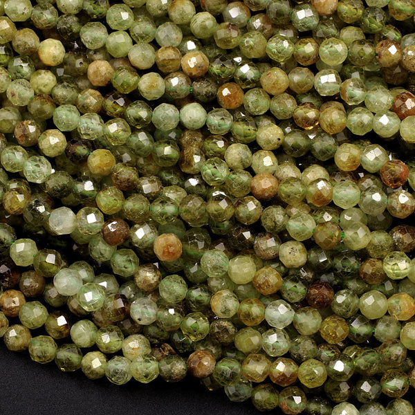 "Micro Faceted Natural Green Garnet Round Beads 4mm Faceted Round Beads Laser Diamond Cut Gemstone 16"" Strand"