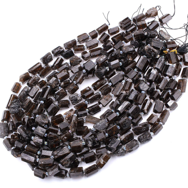"Raw Natural Honey Cognac Tourmaline Beads Freeform Nugget Tube Real Genuine Tourmaline Crystal Gemstones 16"" Strand"