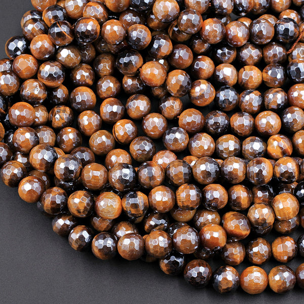 "AAA Natural Mystic Tiger Eye Faceted 4mm 6mm 8mm 10mm Round Beads Silverite AB Coated Gemstone 16"" Strand"