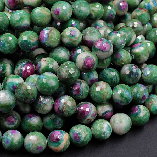 "Natural Ruby Fuchsite Large Faceted Round 12mm Red Ruby Green Fuchsite Gemstone Fuschite 16"" Strand"