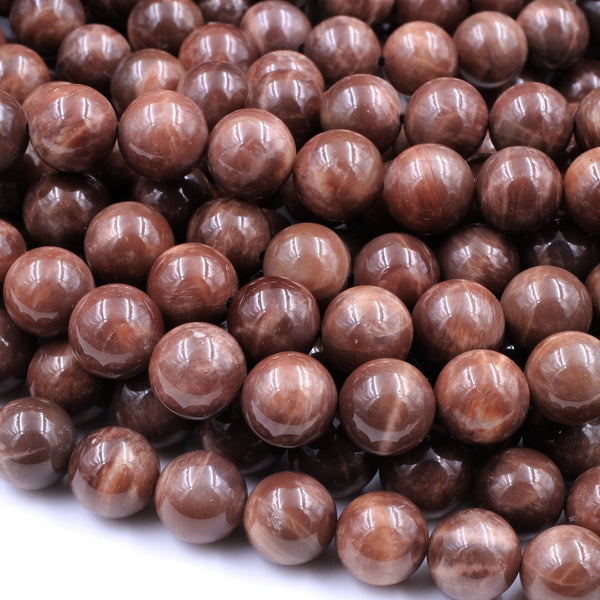 "Rare! Natural Madagascar Chocolate Moonstone 4mm 5mm 6mm 8mm 10mm 12mm 14mm Round Beads Dark Reddish Brown Moonstone 16"" Strand"