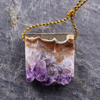 Natural Amethyst Stalactite Slice Pendant Drilled Druzy Drusy Vibrant Purple Small Slab Gemstone Focal Bead