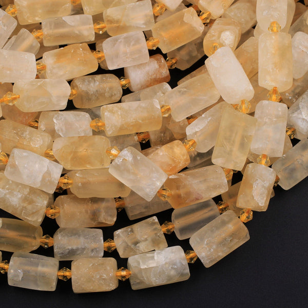 "Organic Cut Raw Rough Matte Natural Golden Citrine Frosty Faceted Nuggets Rectangle Tube Gemstone Beads 16"" Strand"