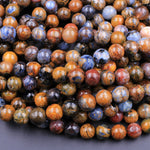 "Genuine African Pietersite 6mm 8mm 10mm Round Beads Stunning Natural Red Brown Gold Blue Gemstone from Namibia South Africa 16"" Strand"