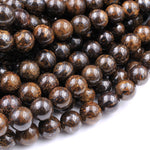 "Natural Bronzite 4mm 6mm 8mm 10mm 12mm 14mm 16mm Round Beads High Quality Brown Stone 16"" Strand"