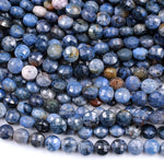 "Natural Sunset Dumortierite Faceted Coin Beads 8mm Earthy Blue Rusty Orange Natural Stone 16"" Strand"