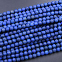 "Matte Natural Blue Lapis 4mm 6mm 8mm 10mm Round Beads Real Genuine Lapis Pyrite Specks High Quality Gemstone 16"" Strand"