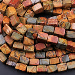 "Red Creek Jasper Bead 10x8mm Rectangle Cube Beads Earthy Red Green Yellow Brown Natural Cherry Creek Multicolor Picasso Jasper 16"" Strand"