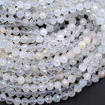 "Natural White Topaz 6mm 7mm Faceted Round Beads Laser Diamond Cut Gemstone Real Genuine Blue Topaz Gemstone 16"" Strand"