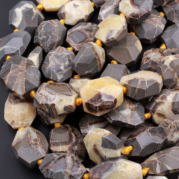 "Natural Utah Septarian Beads Large Chunky Faceted Nugget Beads Irregular Freeform Octagon Square Nodule Yellow Brown Gray Jasper 16"" Strand"