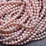"Genuine Pink Freshwater Pearl 5mm 6mm Round Iridescent Metallic Pink Peach high Luster 16"" Strand"