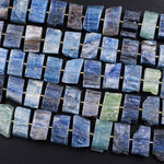 "Raw Natural Blue Green Kyanite Rectangle Slice Beads Center Drilled Focal Pendant Quality Gemstone Rough Cut 16"" Strand"