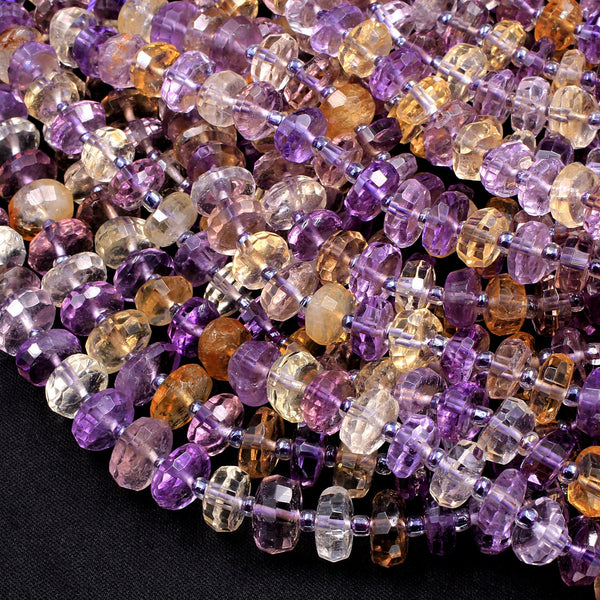 "AAA Ametrine Faceted 8mm 10mm Rondelle Beads Hand Cut Freeform Genuine Real Natural Ametrine Gemstone 16"" Strand"