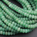 "Matte Natural Green Aventurine Rondelle Beads 6mm 8mm High Quality Natural Green Gemstone 16"" Strand"