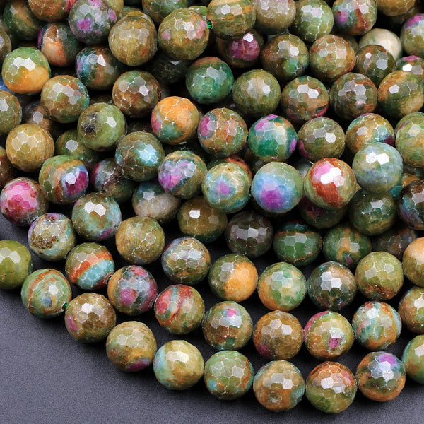 "Natural Ruby Fuchsite Faceted Round 6mm 7mm 8mm 10mm 12mm 14mm Red Ruby Green Fuchsite Gemstone Fuschite 16"" Strand"