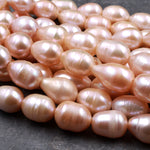 "Large Hole Pearls Beads AAA Genuine Freshwater Peach Pearl 16mm Huge Jumbo Potato Oval Pearl 2.5mm Drill Size 8"" Strand"
