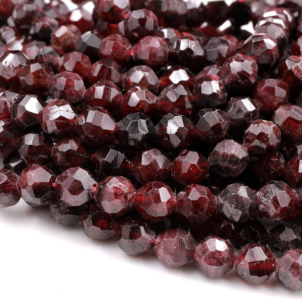 "Natural Red Garnet Gemstone Beads Faceted 6mm 8mm Round Beads Sparkling Sharp Facets 16"" Strand"