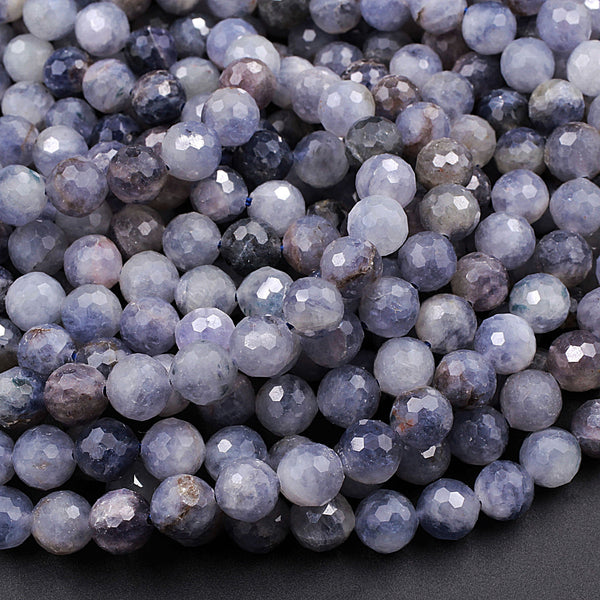 "Faceted Natural Iolite Round Beads 8mm Genuine Real Blue Purple Iolite Gemstone 16"" Strand"