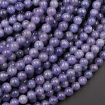 "Natural Tanzanite Round Beads 6mm 8mm 10mm Real Genuine Tanzanite Purple Blue Gemstone 16"" Strand"