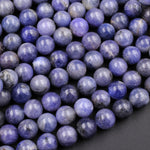 "Large Natural Tanzanite Round Beads 8mm 10mm 12mm Real Genuine Tanzanite Purple Blue Gemstone 16"" Strand"
