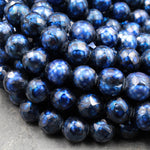 "Faceted Genuine Freshwater Pearl Mystic Royal Blue Pearl 10mm Round Shimmery Iridescent Beads 16"" Strand"
