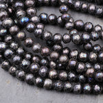 "Faceted Rondelle Pearls Copper Gray Freshwater Pearl 6mm Round Shimmery Iridescent Beads 16"" Strand"