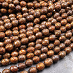 "Faceted Golden Bronze Copper Oval Rice Pearls 6mm Shimmery Iridescent Genuine Freshwater Pearl 16"" Strand"