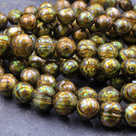 "Large Faceted Genuine Freshwater Pearl Mystic Golden Green Pearl 10mm Round Shimmery Iridescent Beads 16"" Strand"