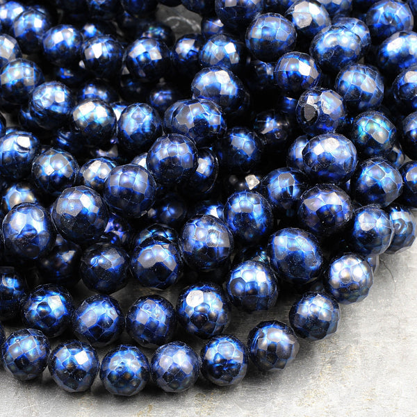 "Faceted Genuine Freshwater Pearl Mystic Midnight Blue Pearl 10mm Round Shimmery Iridescent Beads 16"" Strand"