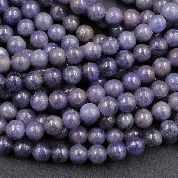 "Natural Tanzanite Round Beads 3mm 4mm 5mm 6mm 7mm 8mm 10mm Real Genuine Tanzanite Purple Blue Gemstone 16"" Strand"