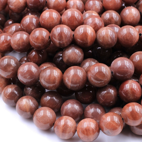 "Rare! Natural Madagascar Chocolate Moonstone 4mm 5mm 6mm 8mm 10mm 12mm 14mm Round Beads Reddish Brown Moonstone 16"" Strand"